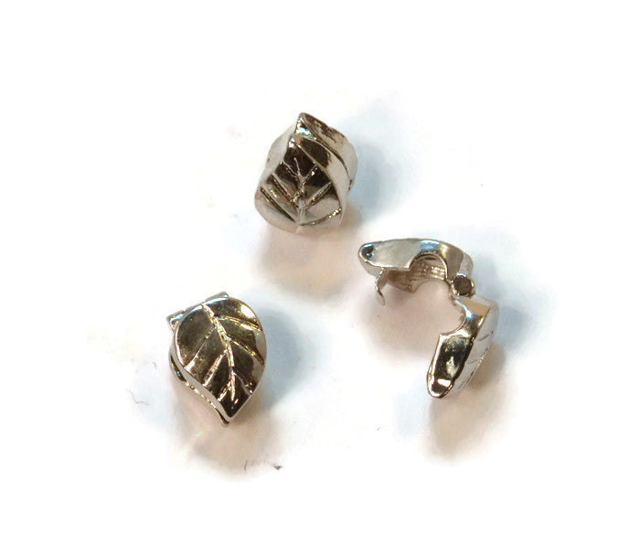 Clip on Leaf Pewter Dread Bead