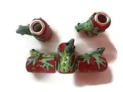 Red Glass Frog Dread Bead