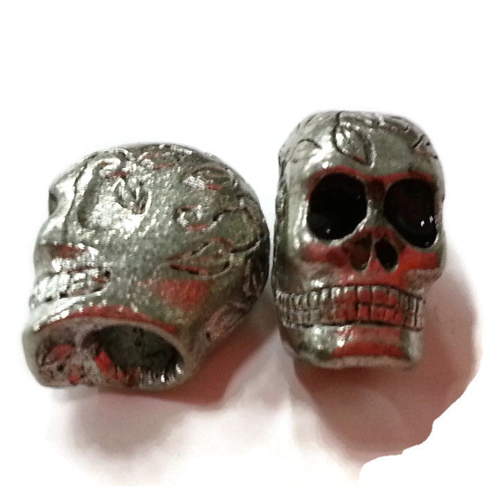 Sugar Skull Pewter Dread Bead
