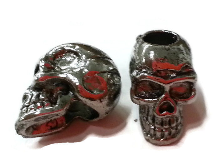 Pewter Skull Dreadlocks Bead