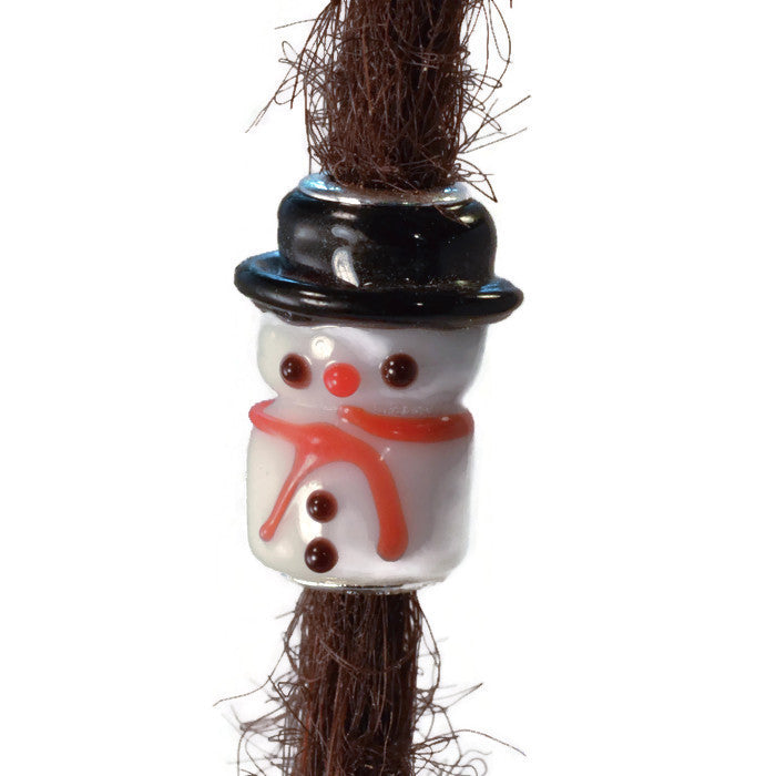 Glass Snowman Dread Bead