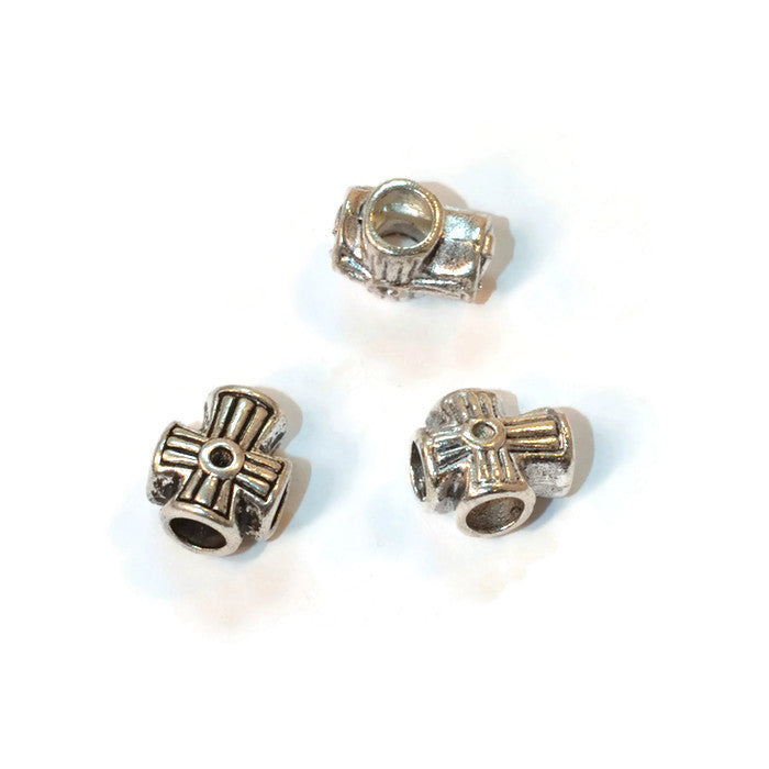 Pewter Cross Dread Bead