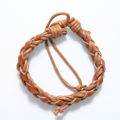 Braided Brown Leather and Hemp