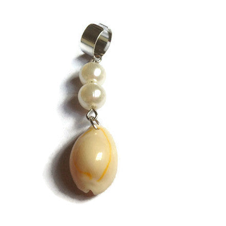 Shell with clear beads Dread Dangle