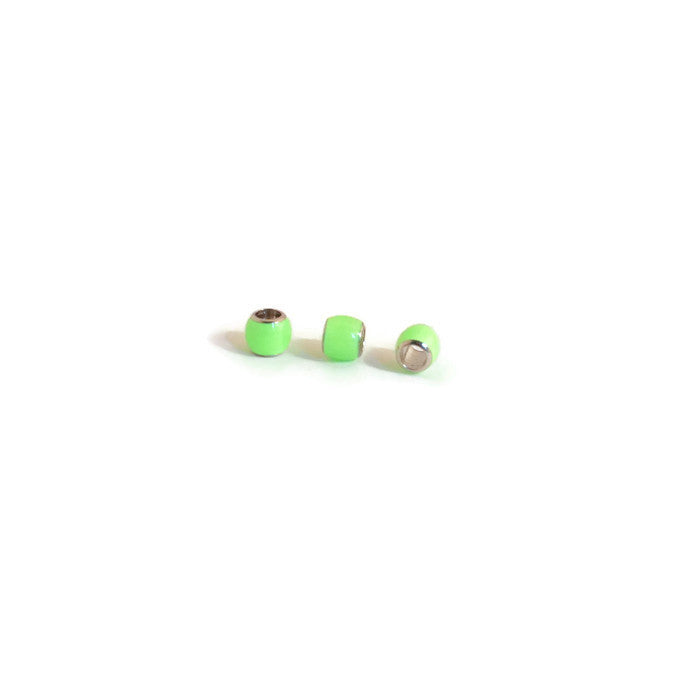 Pewter Neon Green Ball Bead