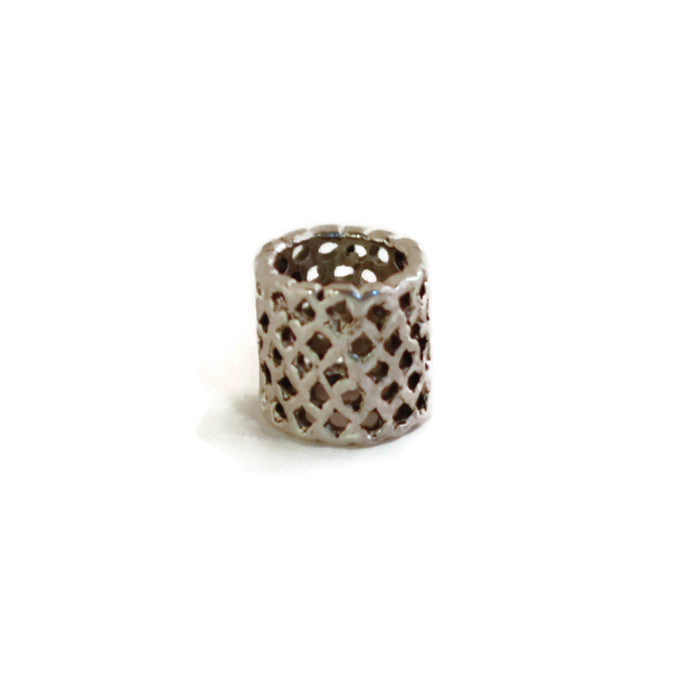 Large Pewter Dread Bead with Holes