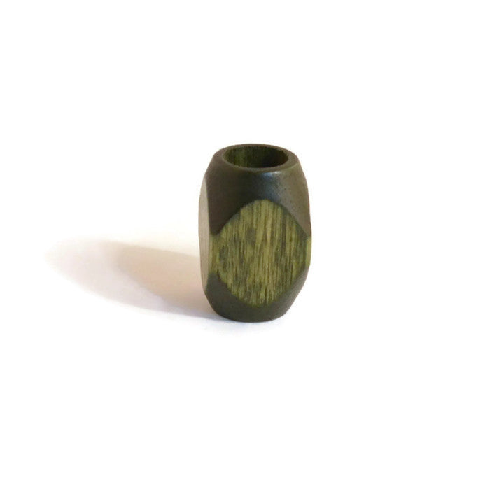 Large Forest Green Wooden Dread Bead