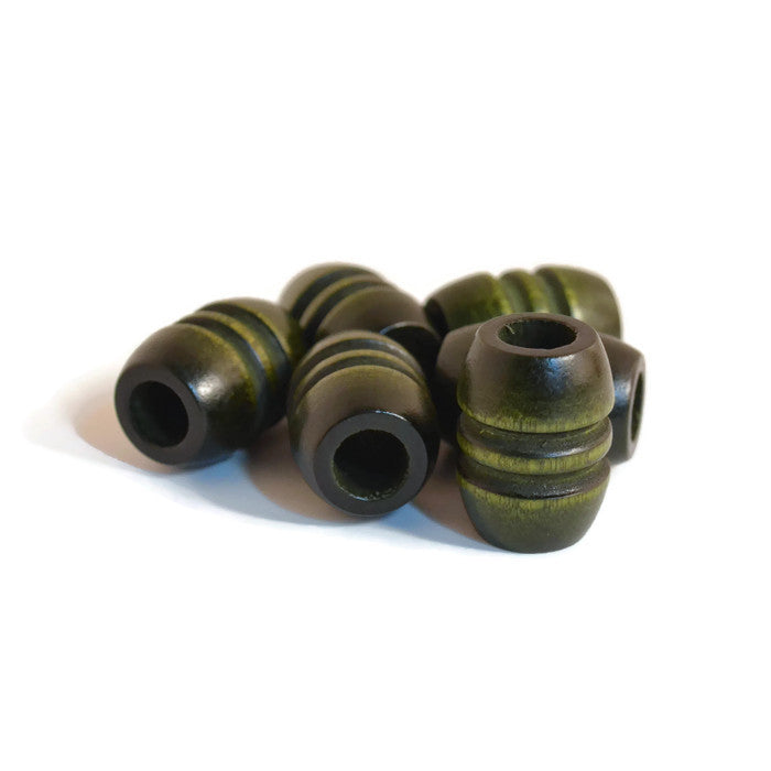 Large Olive Green Wooden Dread Beads