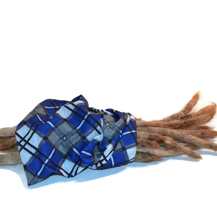 Blue Plaid Dread Head Band