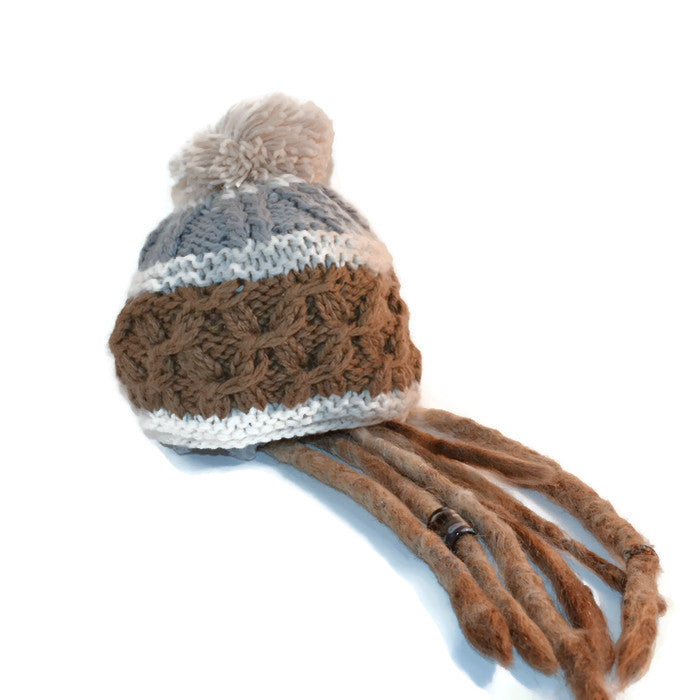 Gray and Tan Dread Poof Hat