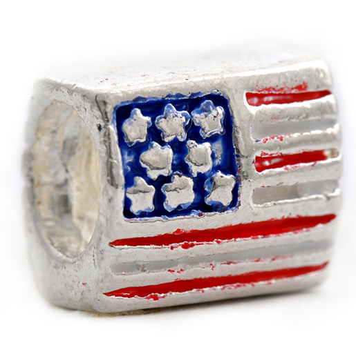 American Flag Pewter Dreadlocks Bead
