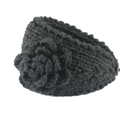 Black Flower Crocheted Dread Head Band