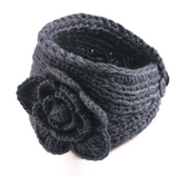 Charcoal Flower Crocheted Dread Head Band