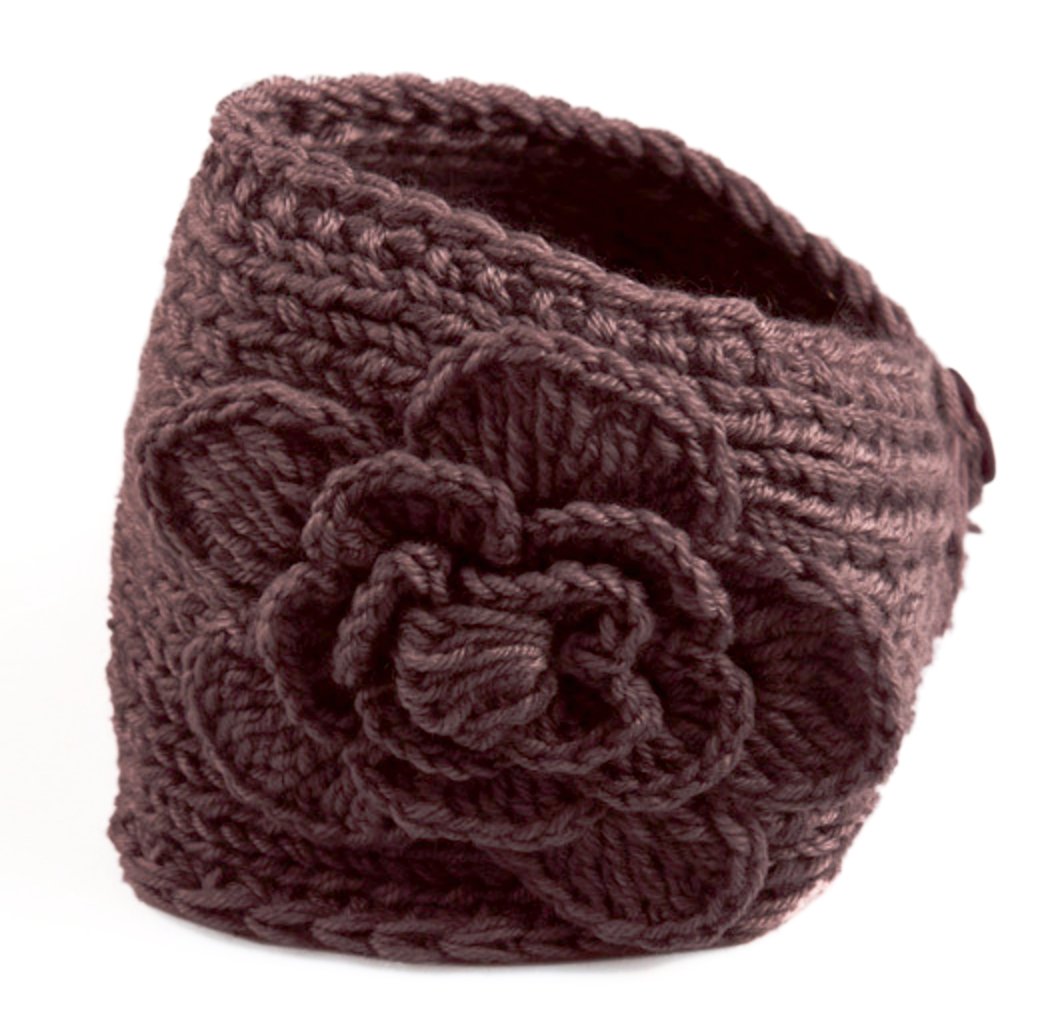 Chocolate Brown Flower Crocheted Dread Head Band