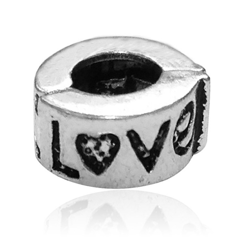 Clip on Love Pewter Dread Bead