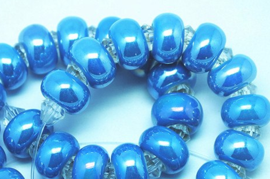 Caribbean Blue Ceramic Dreadlocks Bead