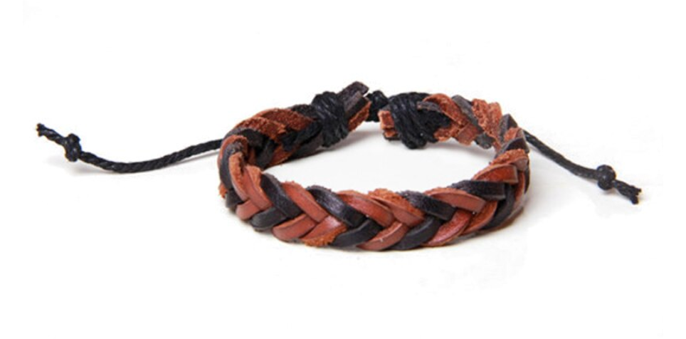 Braided Brown and Black Leather Dread Tie