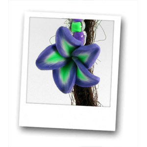 Clay Purple & Green Flower Dread Dangle