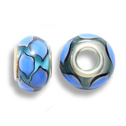 Aqua Blue Glass Dread Bead