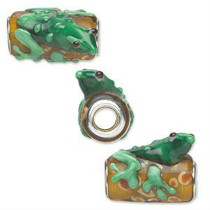 Glass Frog Dread Bead Green