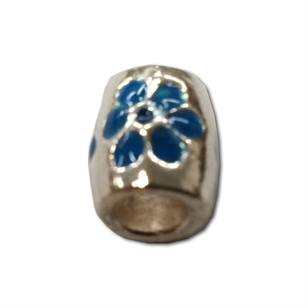 Blue Flower Pewter Dread Bead