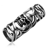 Large Carved Skull Pewter Dread Bead