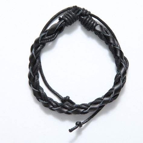 Braided Black Leather and Hemp