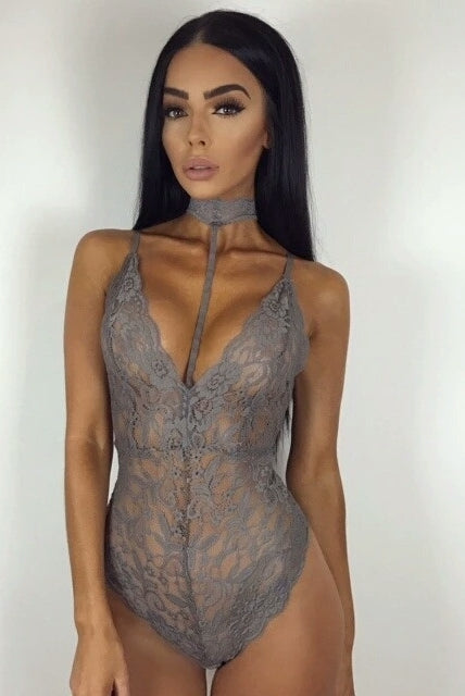 Teegan Grey Lace Chocker Bodysuit
