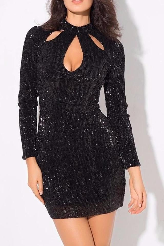 Esme Black Key Hole High Neck Long Sleeve Dress