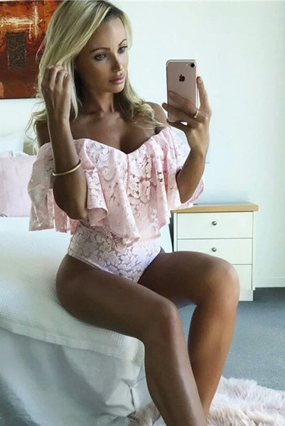 Courtnie Pink Lace Off The Shoulder Bodysuit