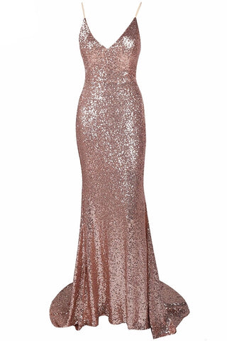 Lola Rose Gold Bow Back Plunge Gown