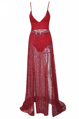Olivia Red Sequin Plunge Gown