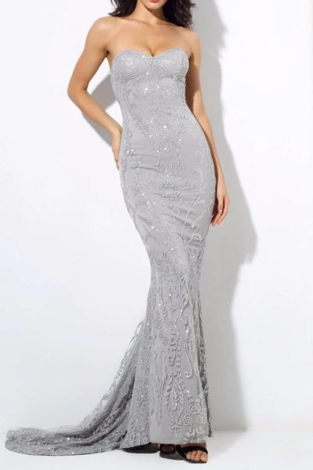 Vanity Silver Sequin Sweetheart Gown