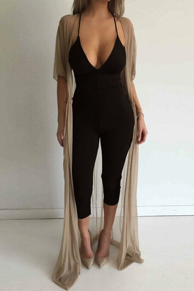 Spencer Black Lace Up Back Jumpsuit