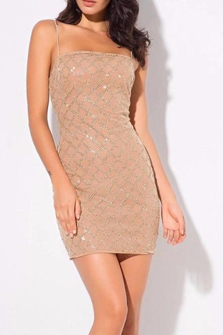 Gloria Gold Sequin Bodycon Mini Dress