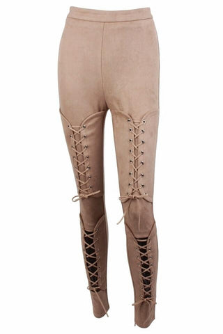 Benny Beige Suede Lace Up Trousers