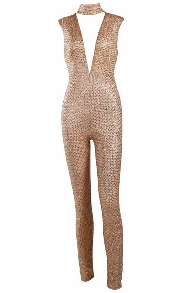 Ally Gold Glitter Chocker Plunge Jumpsuit