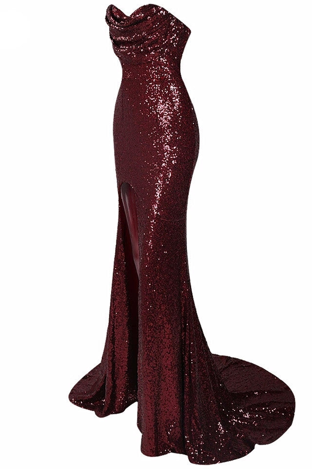 Jeanna Wine Sequin High Slit Gown