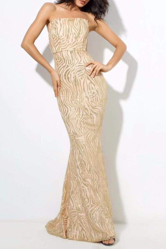 Cheyne Champagne  Sequin Detail Strapless Gown