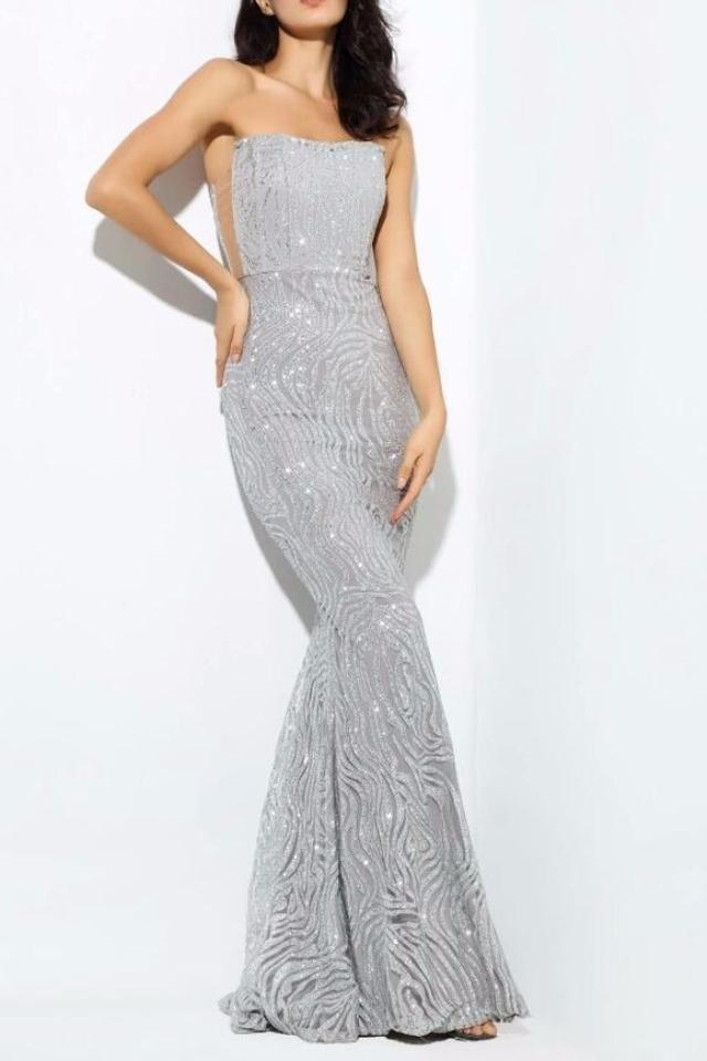 Cheyne Silver Sequin Detail Strapless Gown