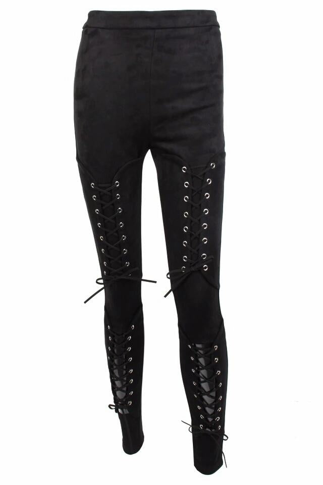 Benny Black Suede Lace Up Trousers