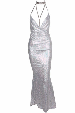 Theresa Silver Cowl Neck Sequin Maxi Dress
