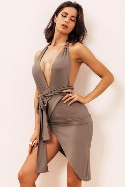 Serena Brown Deep Plunge Dress