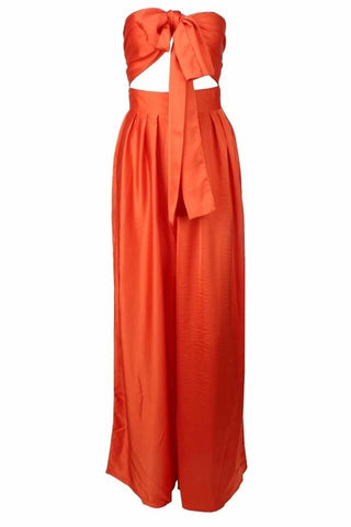 Tya Orange High Waist Wide Leg Crop Top Two - Piece