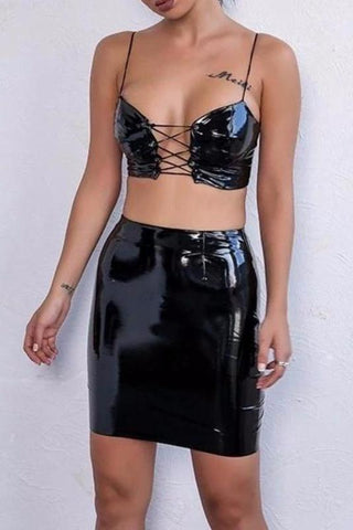 Bobbie Black Vinyl Lace Up Two - Piece