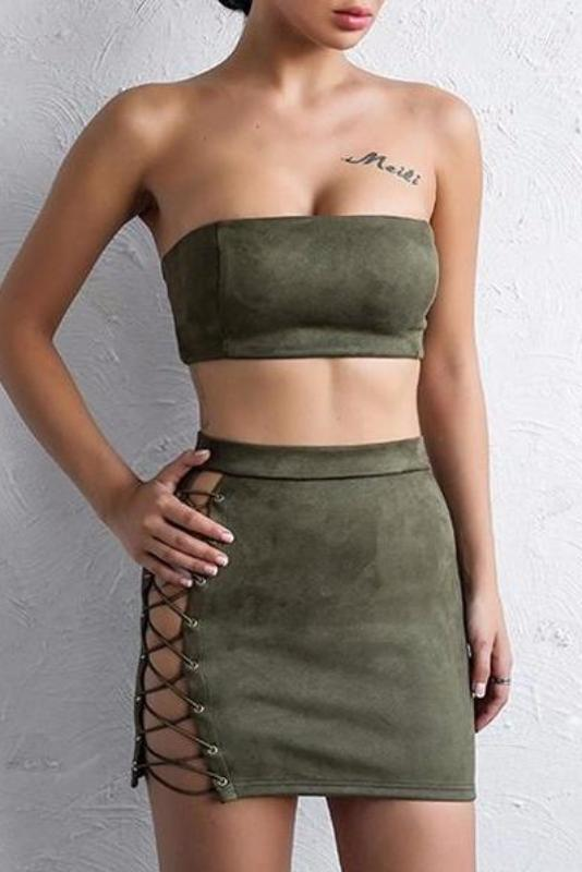 Mickey Army Green Suede Two - Piece