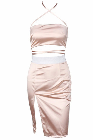 Amber Pale Pink Satin Two - Piece