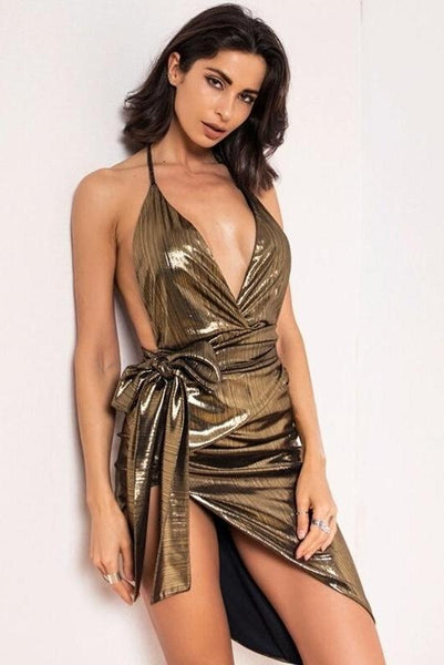 Serena Green Metallic Deep Plunge Dress