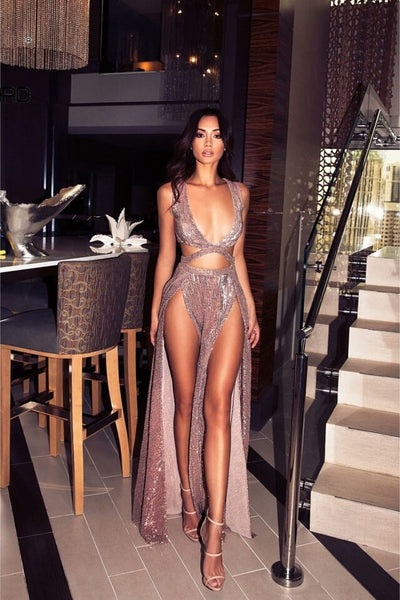 Lassie Rose Shimmer Plunge Double Slit Gown
