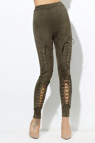 Benny Khaki Suede Lace Up Trousers